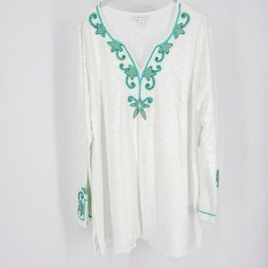 Charter Club Women Tunic Long Sleeve Embroidered